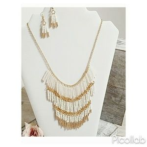 White/Gold Bead Drop Statement Necklace & Earrings